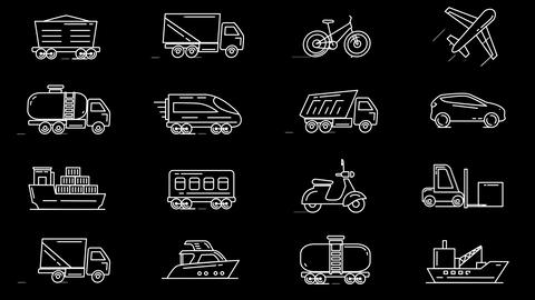 Line icons of different vehicles Animation