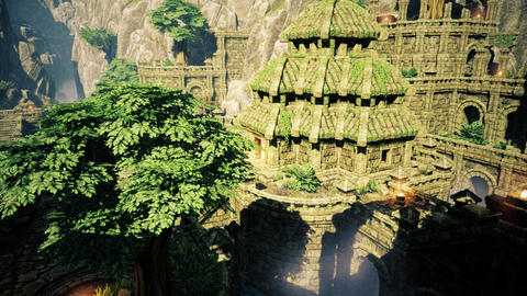 4K Ancient Mysterious Fantasy Town 3D Animation Animation