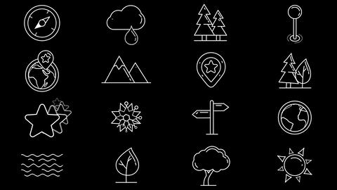Set of line icons of natural objects Animation