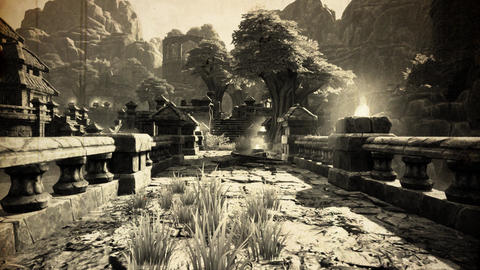 4K Ancient Mysterious Fantasy Town Vintage Aerial 3D Animation Live Action