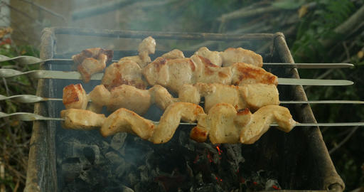 meat is fried on burning coals Footage