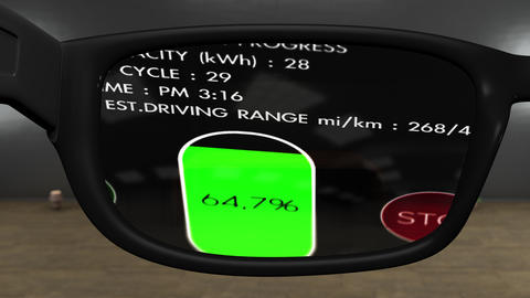 4K AR Glasses Electric Vehicle Charging Process Animation