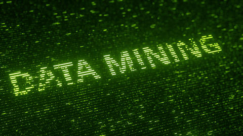 Green DATA MINING text made with flying luminescent particles. Information Footage
