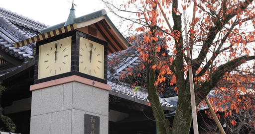 Old fashioned clock tower at Japanese shrine ビデオ