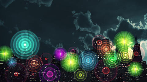4K Wireless Networks in City at Night Animation Animation