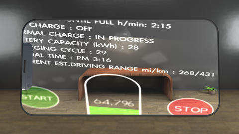 4K Electric Vehicle Charging Phone Augmented Reality Concept Animation