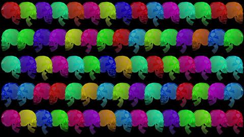 4K Multicolor Crystal Skulls Halloween Art Black BG Animation