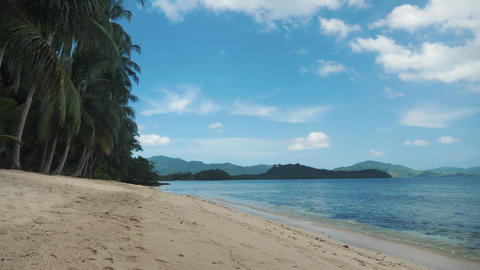 Beautiful tropical beach with palm trees and golden sand in philippines Footage