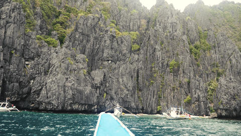 Big granite walls on the sea near big lagoon in philippines Stock Video Footage