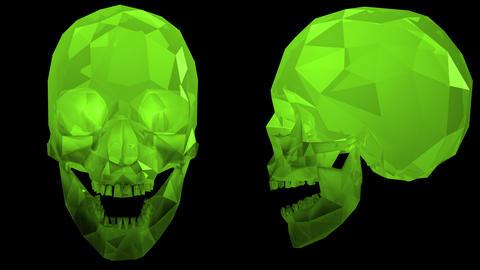 4K Crystal Skulls Loop with Transparent Background Green Animation
