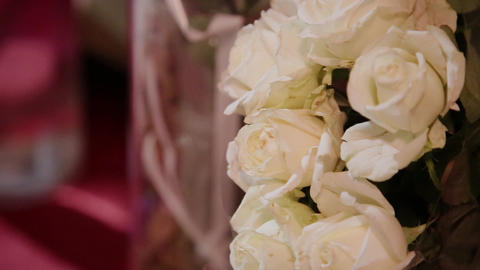 a Large Bouquet of White Roses, Green White, Green Flower Color, a Lot of Footage