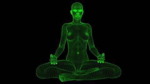 4K AI Android Woman Yoga Pose Meditation Seamless Loop Animation
