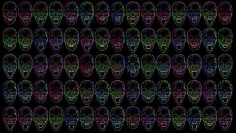 4K Multicolor Crystal Skulls Halloween Comic Art Animation
