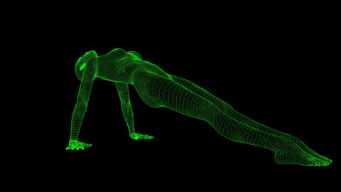 4K AI Android Woman Yoga Pose Upward Facing Seamless Loop Animation