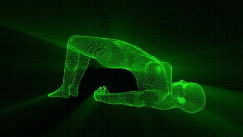 4K Futuristic Android AI Woman Yoga Bridge Seamless Loop Animation