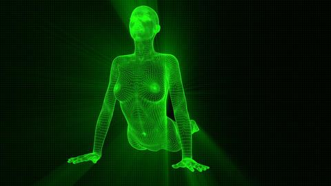 4K Futuristic Android AI Woman Yoga Cobra Seamless Loop Animation