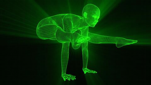 4K Futuristic Android AI Woman Yoga Crane Seamless Loop Animation