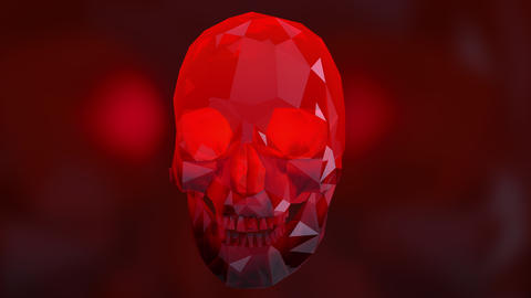4K Rotating Crystal Skull Loop Halloween ArtSeamless Looping Animation Animation