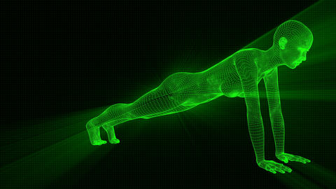 4K Futuristic Android AI Woman Yoga Planking Seamless Loop Animation