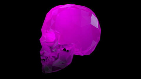4K Rotating Crystal Skull Loop Halloween Art Transparent BGSeamless Looping Animation with Animation