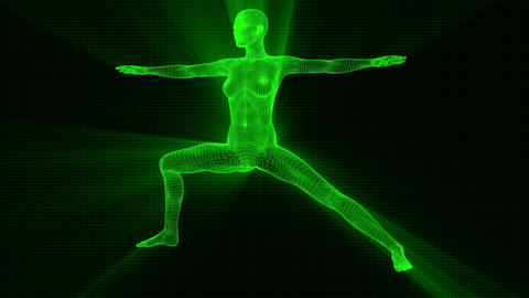 4K Futuristic Android AI Woman Yoga Warrior Seamless Loop Animation