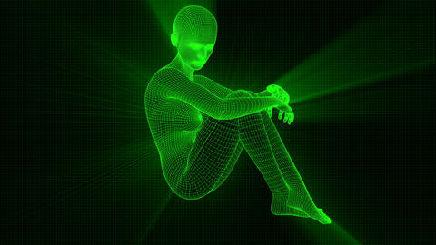 4K Futuristic Wireframe Android AI Shine Woman Sitting Pensive Seamless Loop Animation