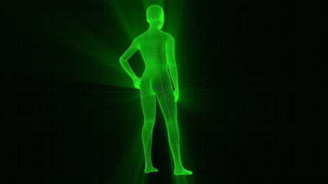 4K Futuristic Wireframe Android AI Shine Woman Standing Seamless Loop Animation