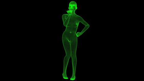 4K Futuristic Wireframe Android AI Woman Dropping Kiss Seamless Loop Animation
