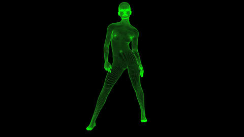 4K Futuristic Wireframe Android AI Woman Standing Confident Seamless Loop Animation