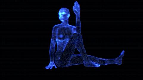 4K Holographic Future Android AI Woman Yoga Marichi Seamless Loop Animation