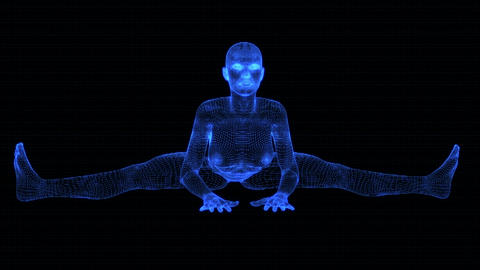 4K Holographic Future Android AI Woman Yoga Wideangle Seamless Loop Animation