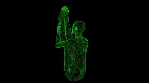 4K AI Android Woman Yoga Pose Seated Forward Seamless Loop Animation