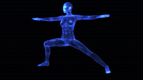 4K Holographic Future Android AI Woman Yoga Warrior Seamless Loop Animation