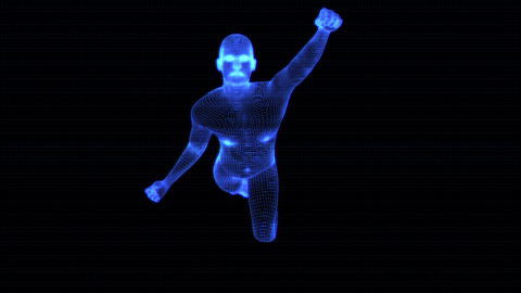 4K Holographic Futuristic Wireframe Android AI Men Flying Seamless Loop Animation