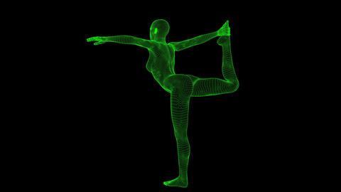 4K AI Android Woman Yoga Pose Dancer Seamless Loop Animation