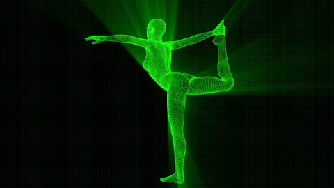 4K Futuristic Android AI Woman Yoga Dancers Pose Seamless Loop Animation