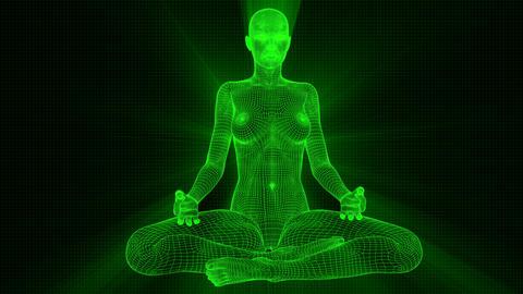 4K Futuristic Android AI Woman Yoga Meditation Seamless Loop Animation