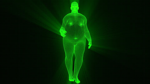 4K Futuristic Wireframe Android AI Shine Obese Man Seamless Loop Animation