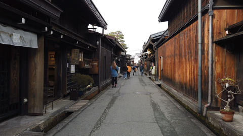 Tourists walking in old town and traditional Japanese village in Takayama GIF
