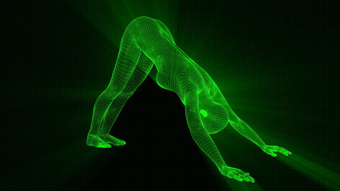 4K Futuristic Android AI Woman Yoga Down Facing Seamless Loop Animation