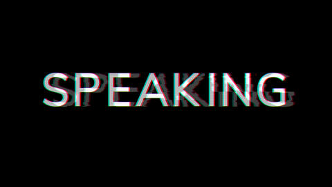 From the Glitch effect arises text SPEAKING. Then the TV turns off. Alpha channel Premultiplied - Animation