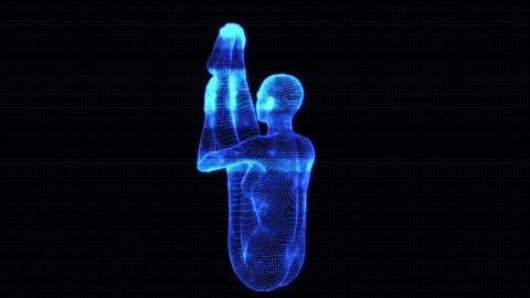 4K Holographic Future Android AI Woman Yoga Seated Forward 2 Animation