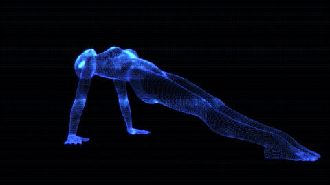 4K Holographic Future Android AI Woman Yoga Upward Planking Seamless Loop Animation