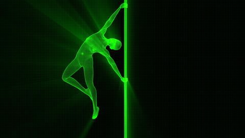 4K Futuristic Wireframe Android AI Shine Woman Poledancer Seamless Loop Animation
