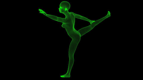 4K Futuristic Wireframe Android AI Woman Dancing Pose Seamless Loop Animation