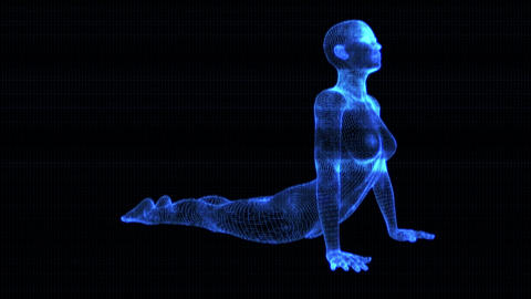 4K Holographic Future Android AI Woman Yoga Cobra Seamless Loop Animation
