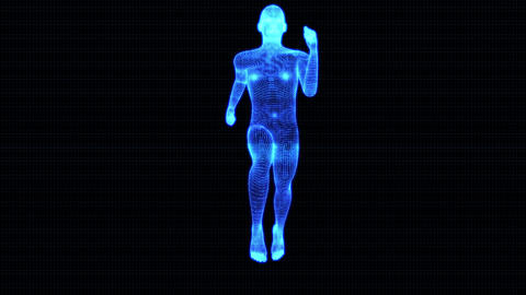 4K Holographic Futuristic Wireframe Android AI Man Running Seamless Loop Animation