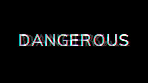 From the Glitch effect arises text DANGEROUS. Then the TV turns off. Alpha channel Premultiplied - Animation