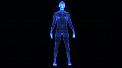 4K Holographic Futuristic Wireframe Android AI Man Standing Seamless Loop Animation