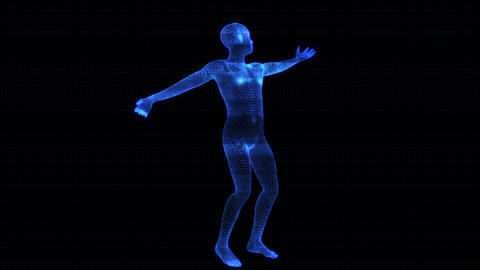 4K Holographic Futuristic Wireframe Android AI Men Playing Tennis Seamless Loop Animation